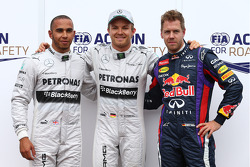 Pole for Nico Rosberg, Mercedes AMG F1 W04 2nd Lewis Hamilton, Mercedes AMG F1 and 3rd Sebastian Vettel, Red Bull Racing  25