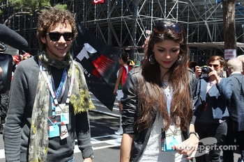 Valentino Rossi, Moto GP rider with his girlfriend Linda Morselli, on the grid
