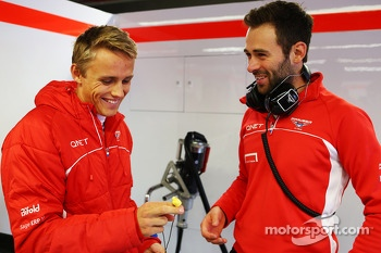 (L to R): Max Chilton, Marussia F1 Team with Sam Village, Marussia F1 Team
