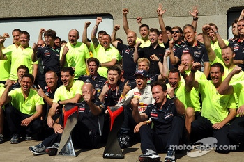 The Red Bull Team celebrates Sebastian Vettel's win