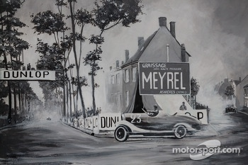 Mural at Virage de Pontlieue where the old track once was in 1923.  Intersection of Chemin de Laigné, avenue George Durand