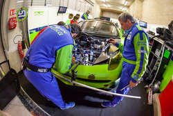 Krohn Racing team members make the final preparation on the Ferrari F458 Italia received from MIchelotto