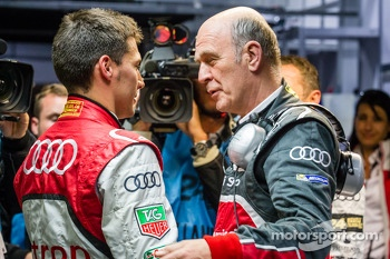 Pole winner Loic Duval celebrates with Dr. Wolfgang Ullrich