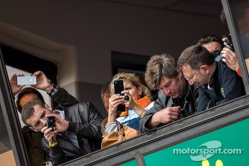 Fans watching the action above pit lane