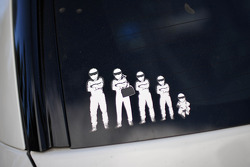 A family of Stigs on the back of Simon Pagenaud's Honda Odyssey