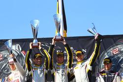 Podium: winners Bas Leinders, Yelmer Buurman, Maxime Martin, BMW Z4