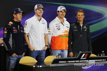 German drivers in the FIA Press Conference: Sebastian Vettel, Red Bull Racing; Nico Hulkenberg, Sauber; Adrian Sutil, Sahara Force India F1; Nico Rosberg, Mercedes AMG F1