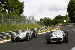 Lewis Hamilton and Nico Rosberg drive classic Mercedes-Benz around the Nordschleife