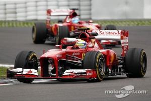 Felipe Massa, Ferrari F138 leads team mate Fernando Alonso, Ferrari F138