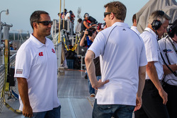 Juan Pablo Montoya and Brad Keselowski on the Sprint Tower rooftop