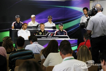 The FIA Press Conference: Valtteri Bottas, Williams; Paul di Resta, Sahara Force India F1; Esteban Gutierrez, Sauber; Lewis Hamilton, Mercedes AMG F1; Kimi Raikkonen, Lotus F1 Team; Pastor Maldonado, Williams
