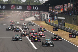 Lewis Hamilton, Mercedes AMG F1 W04 leads at the start of the race