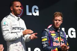 Lewis Hamilton, Mercedes AMG F1 and Sebastian Vettel, Red Bull Racing