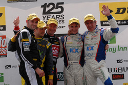 Round 16 Podium; 1st Sam Tordoff, 2nd Jason Plato, 3rd Gordon Shedden, Independent Winner Colin Turkington, JST Winner Lea Wood
