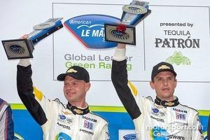 GT podium: Jan Magnussen, Antonio Garcia