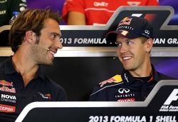 Jean-Eric Vergne, Scuderia Toro Rosso  and Sebastian Vettel, Red Bull Racing at the press conference.