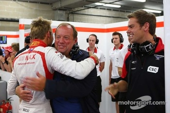 Max Chilton, Marussia F1 Team celebrates reaching Q2 with his father Grahame Chilton, and brother Tom Chilton, WTCC Driver