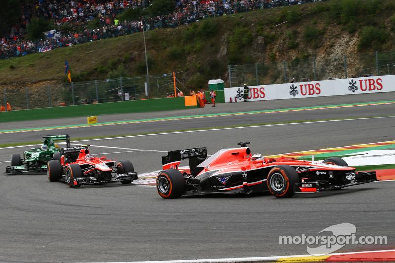 Jules Bianchi, Marussia F1 Team leads team mate Max Chilton, Marussia F1 Team
