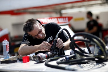 ART Grand Prix mechanic at work
