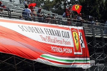 Ferrari banner in the grandstands