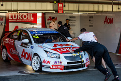 Yvan Muller's Chevrolet getting ready for saturday practice