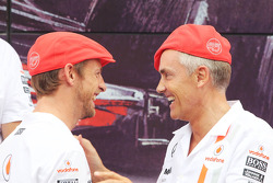 (L to R): Jenson Button, McLaren and Martin Whitmarsh, McLaren Chief Executive Officer celebrate 50 years of McLaren as a constructor