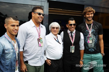 (L to R): Ronaldo, Former Football Player with Bernie Ecclestone, CEO Formula One Group, Juventus FC Football Player; and Fernando Llorente, Juventus FC Football Player