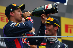 Race winner Sebastian Vettel, Red Bull Racing and 3rd place Mark Webber, Red Bull Racing