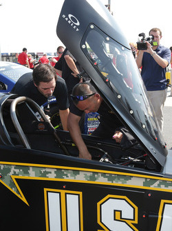 Jimmie Johnson visits Charlotte Motor Speedway