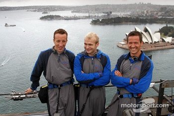 Kris Meeke, Evgeny Novikov and Sébastien Ogier take a tour of the Sydney Harbour bridge