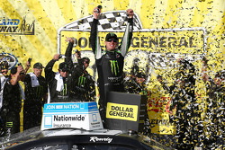 Race winner Kyle Busch celebrates
