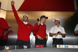 Miguel Molina, Mattias Ekström and Filipe Albuquerque at the Audi slotcar race