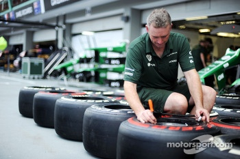 Caterham CT03 mechanic marks up Pirelli tyres