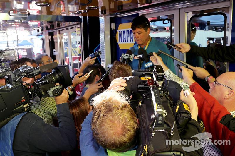 Michael Waltrip addresses the media