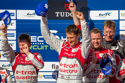 LMP1 podium: class and overall race winners Allan McNish, Loic Duval, Tom Kristensen