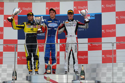 Race winner Jolyon Palmer, second place Felipe Nasr, third place James Calado