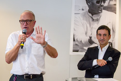 American drivers at Le Mans event: Corvette Racing Doug Fehan and ACO President François Fillon induct American race car driver Dick Thompson in the Le Mans Drivers Hall of Fame
