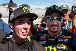 Josh Hayes congratulating Josh Herrin on his 2013 superbike championship
