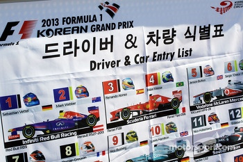 Driver car and entry list for the track marshals