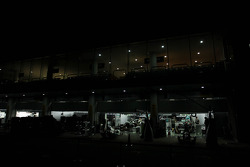 Mercedes AMG F1 pit garages at night