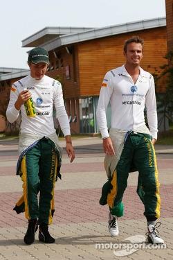 (L to R): Charles Pic, Caterham with team mate Giedo van der Garde, Caterham F1 Team