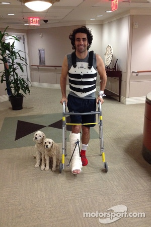 Dario Franchitti leaves the hospital
