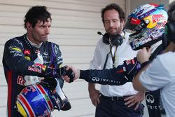 Race winner Sebastian Vettel, Red Bull Racing with team mate Mark Webber, Red Bull Racing in parc ferme