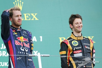 Sebastian Vettel, Red Bull Racing and Romain Grosjean, Lotus F1 Team