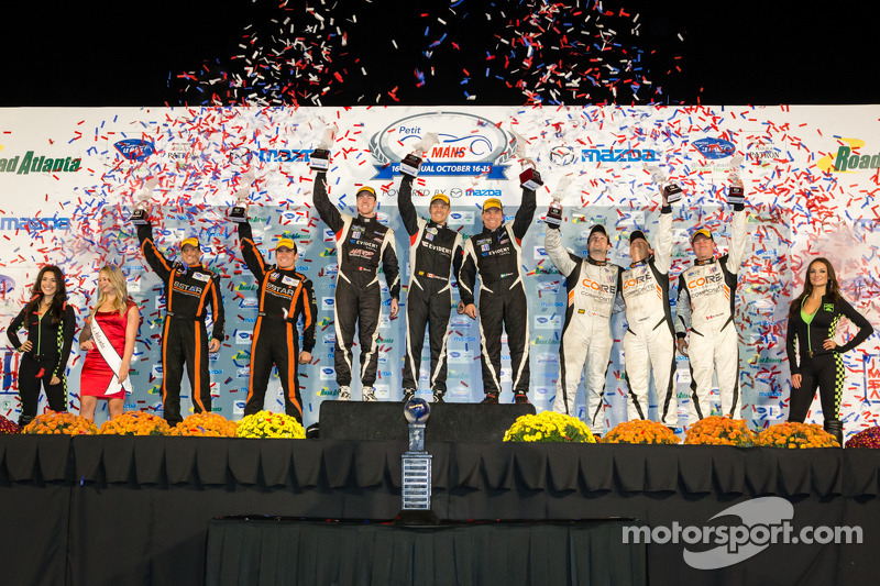 PC podium: class winners Kyle Marcelli, Chris Cumming, Stefan Johansson, second place Oswaldo Negri, Sean Rayhall, third place Jonathan Bennett, Tom Kimber-Smith, Mark Wilkins