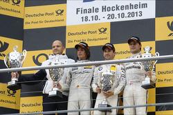 podium final race, MTEK team head Ernest Knoors, Roberto Merhi, Mercedes AMG DTM-Team HWA,Timo Glock, BMW Team MTEK, Bruno Spengler, BMW Team Schnitzer