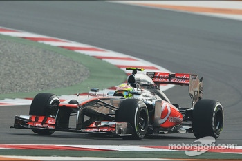 Sergio Perez, McLaren MP4-28 running sensor equipment on the nosecone