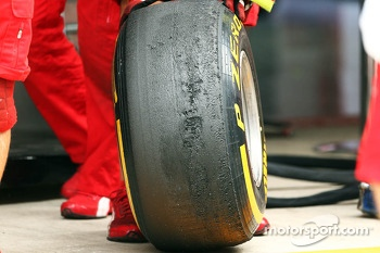Worn Pirelli tyres used by Ferrari