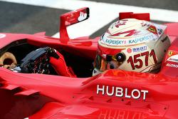 Fernando Alonso, Ferrari F138 with a helmet celebrating his record F1 points haul