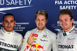 pole for Sebastian Vettel, Red Bull Racing, 2nd for Nico Rosberg, Mercedes and 3rd for Lewis Hamilton, Mercedes AMG F2